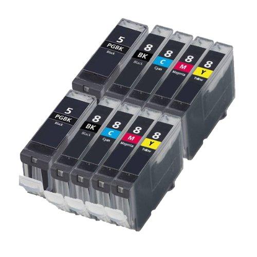 Odyssey Supplies Cartouche d'encre PGI-5, CLI-8 compatible avec imprimantes Canon pour Pixma MP500, MP530, MP600, MP600R, MP610, MP800, MP800R, MP810, MP830, iP4200, iP4300, iP4500, iP5200, iP5200R, iP530 et MP 500, MP 530, MP 600, MP 600R, MP 610, MP 800, MP 800R, MP 810, MP 830, iP 4200, iP 4300, iP 4500, iP 5200, iP 5200R, iP 5300, PGI-5 et CLI-8 avec puce 10 inks
