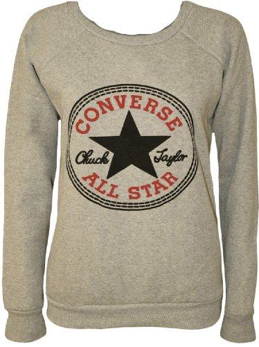 Mix lot der neuen frauen Damen Designer Converse Al Star Grafik gedruckt Jumper Sweatshirt Größe 36-42 (S/M 36-38, grau)