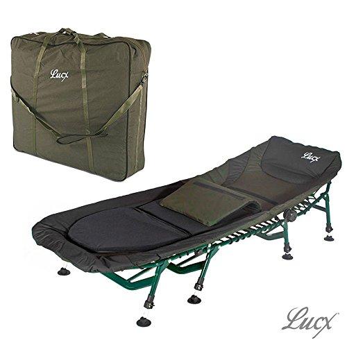 Lucx® Set / 8 Bein Karpfenliege Komfort / Bedchair / Angelliege + Tragetasche / Transporttasche für Liege / Bedchair Bag 'XXL'