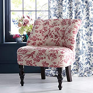 1 x OASIS Odette Style AMELIA Bird/Floral Design Finished With Bevelled Dark Wooden Legs - RASBERRY - Curtains At Home