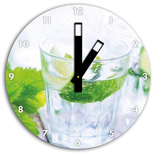 Mojito-Gläser mit Minze Kunst Buntstift Effekt, Wanduhr Durchmesser 30cm mit schwarzen eckigen...