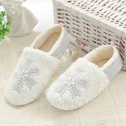 Pantofole invernali di cotone per donna - antiscivolo scarpe chiuse ciabatte fiocco di neve natale interno casa da pingenaneer s/36-37 bianca
