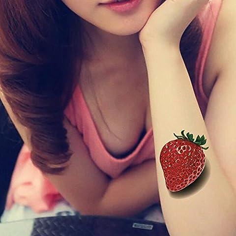TAFLY Cherry Tatuaggi Frutta Tatuaggi Temporanei Non Tossici Adesivi 5 Fogli - Cinque Frutti