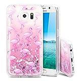 MoEvn Galaxy S6 Hülle, 3D Glitzer Transparent Silikon Tasche mit Weich Rahmen Fließen Flüssig Bling Schwimmend Treibsand Liquid Bunte Stern Herz Case Cover für Samsung Galaxy S6 - Rosa Flamingo
