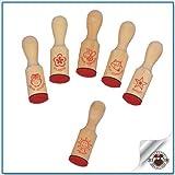 TRENDHAUS Lehrerstempel aus Holz 6 verschiedene Motive sortiert 2x7cm