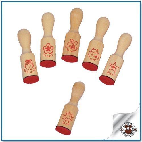 (TRENDHAUS Lehrerstempel aus Holz 6 verschiedene Motive sortiert 2x7cm)