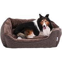 SONGMICS Waschbares Hundebett, Bezug abnehmbar und maschinenwaschbar, Kuscheliges Hundekissen, braun, 90 x 25 x 75 cm PGW11CC