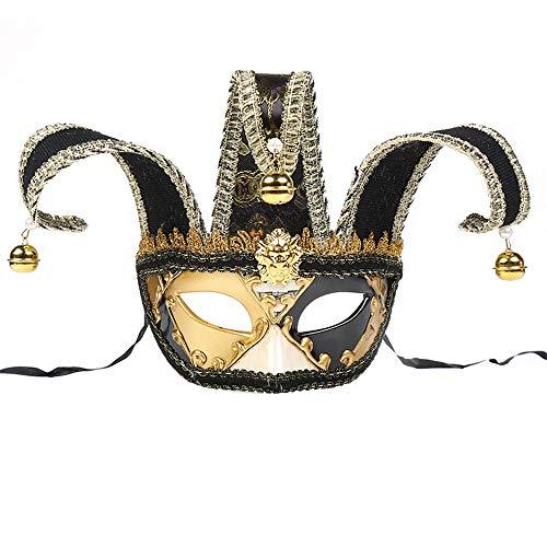 BLEVET Vénitien Masquerade Masque Mardi Gras Halloween Spectacle Party Carnaval Masque MZ063 (Black)