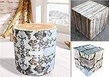 MB Warenhandel24 Sitzhocker Sitzwürfel Sitzpouf Holz Stein Birke Optik grau rund quadratisch Hocker (Birke rund)