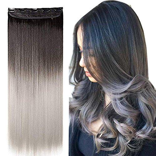 Extension capelli clip in hair lisci grigi fascia unica 63cm estensioni sintetiche one piece 3/4 fulle head 120g - marrone scuro a grigio argento