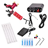 Segolike Complete Tattoo Kit Rotary Tattoo Machine Tattoo Gun, Hand Grip, Power Supply, Foot Pedal, Needles, Nozzle Tips Tattoo Supplies for Tattoo Artists and Beginners - red