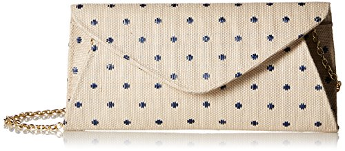 la-regale-dot-linen-roll-clutch-sand-one-size