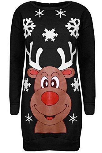 Damen Weihnachten Pom Pom Schneemann Karotten Nase Roter Hut Schalldämpfer Schneeflocken Bedruckt Gestrickt Sweatshirt Winter Fleece Pullover Gestrickt Kleider Rentier Gesicht Schwarz