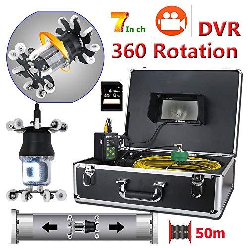 Ccd-farb-industrie-video-kamera (QSBY 7-Zoll-DVR-Video 360-Grad-Drehung Endoskopische Kamera Rohrkamera Entwässerungsinspektion 38LED mit 8 GB TF-Karte Leitungslänge 50 m)