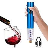 Cavatappi elettrico, Aken® marca a pile Di alta qualità in lega di alluminio Materiale automatico apribottiglie ed il regalo bottiglia di vino Foil Cutter(Blue)