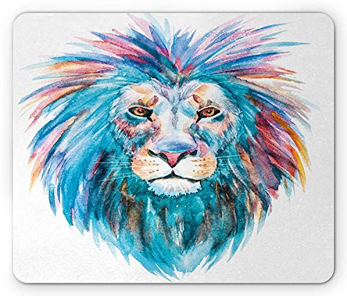 ASKSSD Sketchy Mouse Pad, Wildlife Watercolor Effect Portrait Safari Animal Lion Illustration Print, Standard Size Rectangle Non-Slip Rubber Mousepad, Sky Blue Light Pink