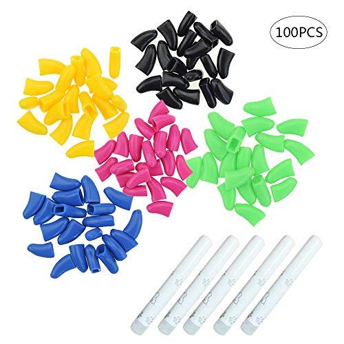 ZZM Katzen-Nagelkappen aus weichem Silikon, für Hunde und Katzen, zum Kontrollieren von Fingernägeln mit 5 Klebern, 100 Stück