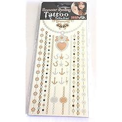 5hojas de papel Tempo Tatuajes Contemporáneo Pegatinas corazón y ancla Tattoo