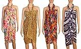 INDIAN FASHION GURU Womens Sarong or Pareo Combo of 4 Swim Cover Up Multipurpose Colorful Beachwear