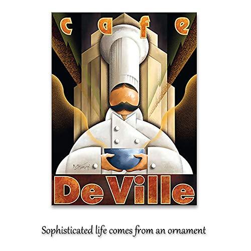 zgmtj Moderne Kellner Leinwand Malerei Wandkunst Bild für Küche Dekoration Restaurant Poster und Drucke Coffee House Cafe Decor - Museum Putty