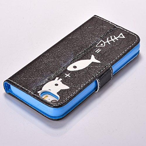 iPhone SE Hülle iPhone 5s Hülle iPhone 5 Hülle, Cozy Hut Handyhülle iPhone SE / 5 / 5S , PU Leder Tasche Hülle Schutzhülle Case Magnetverschluss Telefon-Kasten Handyhülle Standfunktion mit Kartenfach  Katzen fressen Fische