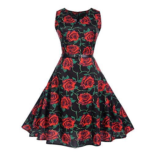 MRULIC Prinzessin Abendkleid Vintage Kleid Cocktailkleider (EU-34-36/CN-S, O-Schwarz)