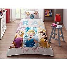 Juego de edredón, sábana y funda de almohadón, para cama individual, de las princesas de Disney, original, de algodón, 3 piezas
