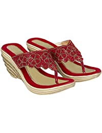 Cordwain PW03 Bling Studded Women's Synthetic Wedges Heel Wedges Heel Slippers | Ladies Slippers | Red Slippers...