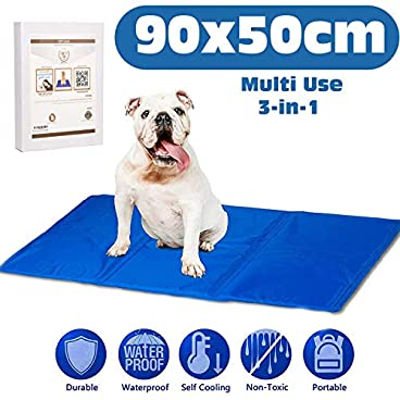 AMZPET Dog Self Cooling Mat Large – Gel Pad Accessories to Help Your Pet Stay Cool this Summer and Reduce Joint Pain – Great for floor or bed while travel or home