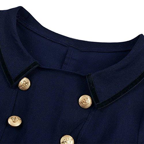 M-Queen Femme Robe Rockabilly 1/2 Manches Evasee Vintage Casual Swing Robe de Soirée de Mariage Bleu