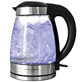 Charles Bentley 3Kw Illuminating LED Glass Kettle 1.7 L Cordless Clear Glass 360