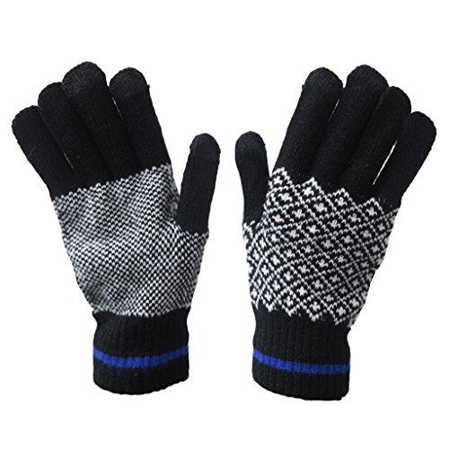 Herren Chunky Knitted Winter Warm Handschuh Herren Touch Bildschirm iTouch iPad Smart Handy Tablet Handschuh Gr. Einheitsgröße, Blau (Bildschirm Für Itouch)