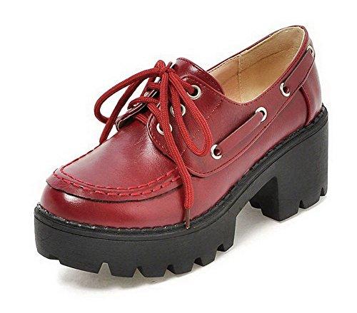 AgooLar Femme Matière Souple Rond à Talon Correct Lacet Chaussures Légeres Rouge Vineux