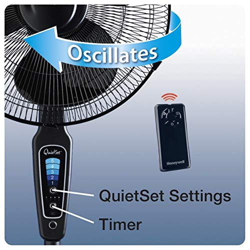 """51N8JTcUluL. SS500  - Honeywell QuietSet 16"""" Stand Fan Black with Remote Control and Sleep Mode"""