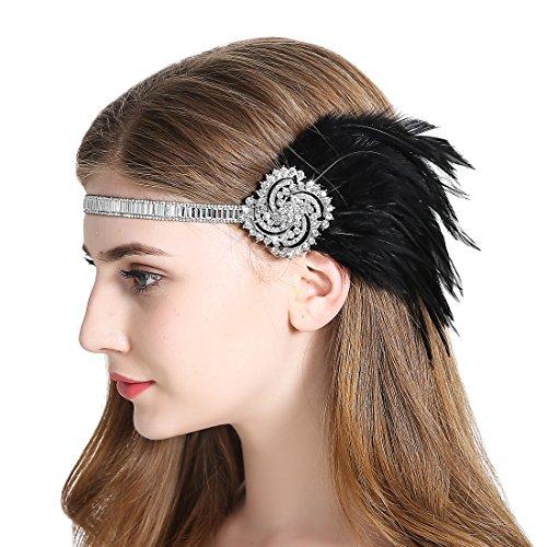 JaosWish Vintage Silver Flapper Stirnband Art Deco Twinkling Strass Stirnband Gatsby 1920er Feder Kopfstück Schwarz (Gatsby Stirnband Schwarz)