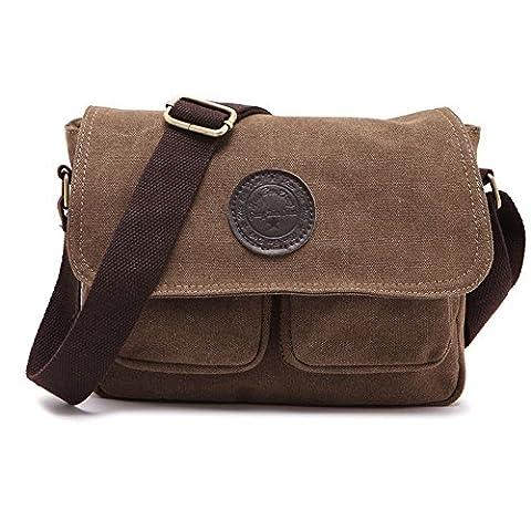 Herren Segeltuch und Leder-Umhängetasche Schultertasche Vintage Messenger Crossbody Sling Seite Tasche aus Segeltuch Tasche braun Coffee (Co Leder Sling)