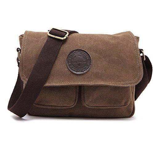 731a130306 Borsa a tracolla da uomo tela vintage e pelle Satchel messenger Crossbody  Sling Side bag Bookbag