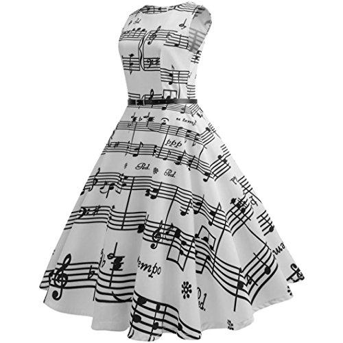 BYSTE Donna Elegante Cerimonia Cocktail Floreale Abito in Cotone A-Line Stile Vintage Vento di Hepburn Nota musicale stampa Sottile Vestito bianca