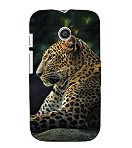 FUSON Leopard Sitting Calm 3D Hard Polycarbonate Designer Back Case Cover for Motorola Moto E :: Motorola Moto E XT1021 :: Motorola Moto E Dual SIM :: Motorola Moto E Dual SIM XT1022 :: Motorola Moto E Dual TV XT1025