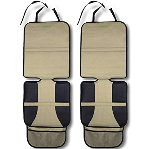 Car Seat Protector, Beige (2-Pack) by Drive Auto Products - Best Protection for Child & Baby Cars Seats, Dog Mat - Ultimate Cover Pad Protects Automotive Vehicle Leather or Cloth