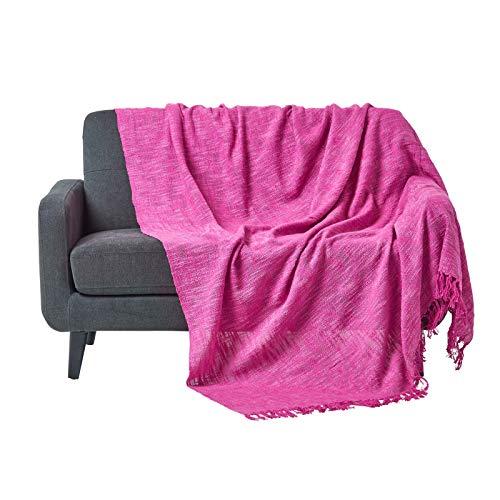 Homescapes Nirvana 100%  Baumwolle Scatter Kissen und Überwürfe, Rosa,  150 x 200cm -