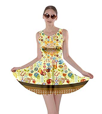 Cowcow donna unicorno Space & Thanksgiving double Side skater Dress, xs-5x L Khaki X-Small