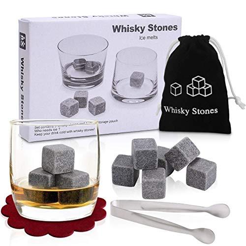 PEMOTech Whisky Stones, 9 Stück Granitwürfel halten Whisky kalt (wird nicht verdünnt), Specksteine für Whisky-Liebhaber - schöne Geschenkverpackung