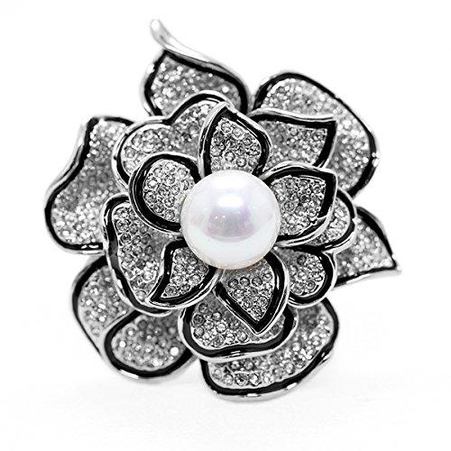 Merdia Broche de broche de flores brillantes para las mujeres con cristal creado hermoso