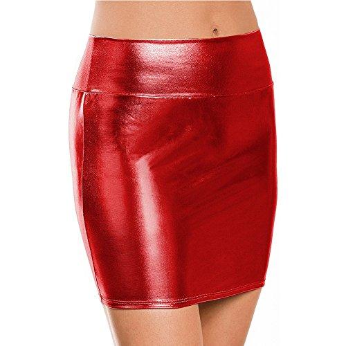 YiZYiF Damen Minirock Rock in Leder-Optik Wet-Look Bleistiftrock Clubwear Party Mini-Röcke Rot One Size (Disco Tanzkostüme)