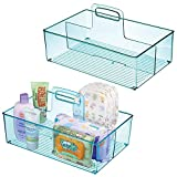 mDesign Set da 2 Porta oggetti con manico con 2 scomparti - Cestino portaoggetti ideale per creme, termometro, giochi e molto altro - Pratico organizer in plastica - blu