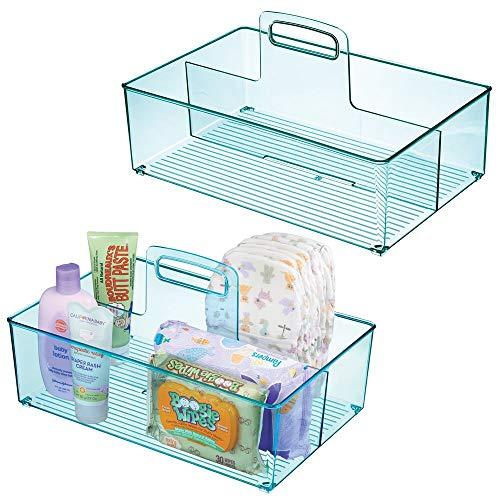 mDesign 2er-Set Caddy mit jeweils 2 Fächern für Babysachen - Aufbewahrungsbehälter mit Griff aus Kunststoff - praktischer Tragekorb für Creme, Thermometer, Spielsachen, Babynahrung usw. - blau -