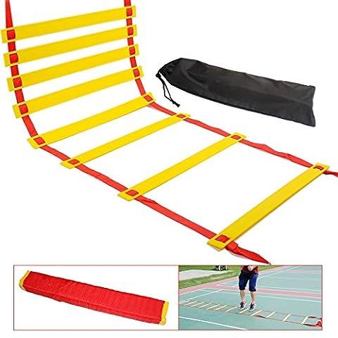 Agility Ladder, 10m Échelle de formation de vitesse, NATUCE Kit de formation de vitesse, de bien-être rapide réglable plat pour Agility Formation et Footwork Perceuses Avec Package Ladder