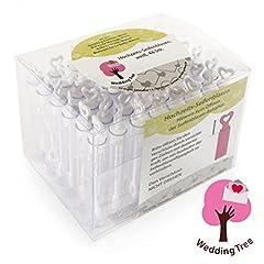 Idea Regalo - WeddingTree® bolle di sapone un set in bianco 48 pezzi con il manico a cuore - diletto per un matrimonio battesimo compleanni nozze d'oro fidanzamento San Valentino bomboniera feste