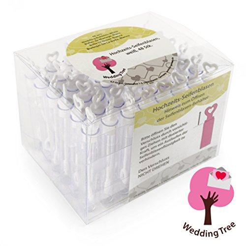 Louisiana Juego de 48 botecitos para pompas de jabón, para regalo para invitados en bodas, color blanco